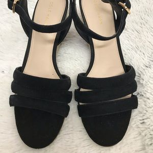 COLE HAAN Black Espadrille Wedges Sz 6 1/2 B